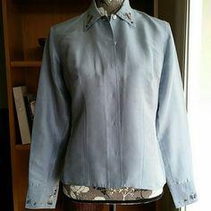 💖Host Pick 💖Liz Claiborne  Silk Blouse Gorgeous liz Claiborne  silk blouse with embroidery on collar and cuffs. Liz Claiborne Tops Blouses