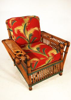 Lounge Chair, Stick Reed Rattan w/ Magazine and Drink Holder