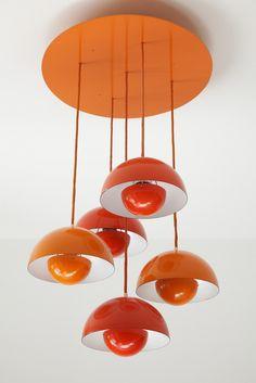 Suspension FlowerPot pendant lamps by Verner Panton / Galerie Atena Luminaire Design, Lamp Design, Design Table, Design Design, Lampe Art Deco, Living Tv, 70s Home Decor, I Love Lamp, Style Deco