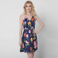 V-Neck Criss-Cross Straps Short Navy Blue Floral Printed Dress