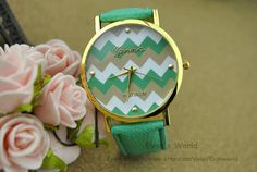 Mint Green Leather Charm Watch Unisex Watches Fashion by Evanworld, $5.50 Fashion charm watch, best gift of friendship.