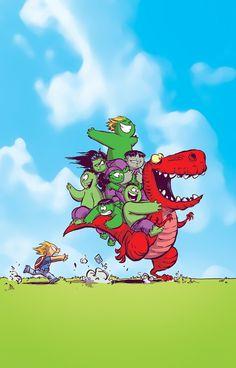 Artist Skottie Young - The Avengers and Marvel hulk family Baby Marvel, Chibi Marvel, Baby Avengers, Disney Marvel, Marvel Dc Comics, Deadpool Chibi, Skottie Young, Comic Book Covers, Comic Books Art