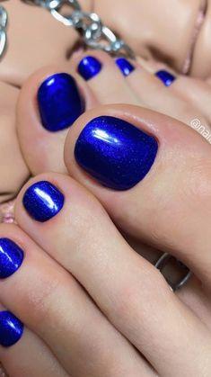Cute Nail Colors, Pedicure Colors, Toe Nail Color, Pedicures, Manicure And Pedicure, Blue Toe Nails, Pretty Toe Nails, Feet Nails, Cute Summer Nail Designs