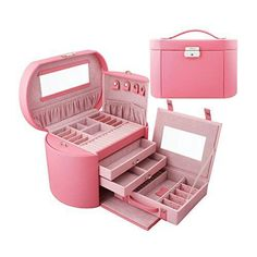 Valdler Faux Leather Large Jewelry Box Jewelry Storage with Mirror (Pink) Large Jewelry Box, Cute Jewelry, Makeup Box, Makeup Storage, Jewellery Storage, Jewelry Organization, Girly Things, Cool Things To Buy, Stuff To Buy
