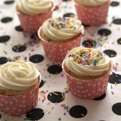 Double Cream Cheese Funfetti Cupcakes.