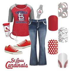 """""""St Louis Cardinals"""" by jennibarrientos on Polyvore featuring Majestic, maurices, Tervis, Converse, LogoArt and Game Time"""