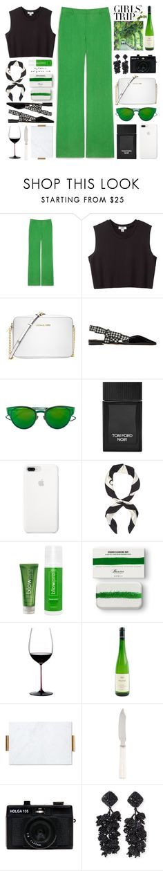 """""""Girls' Trip: Wine Tasting"""" by mylkbar ❤ liked on Polyvore featuring Mulberry, Nomia, Michael Kors, Miu Miu, Christian Dior, Tom Ford, Gucci, blow, Baxter of California and Riedel"""