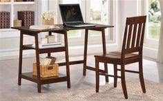 Alsina Traditional Cappuccino Left Side Shelves Writing Desk W/Chair
