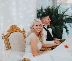 We created the sweetheart table's backdrop look with double strands of twinkle lights behind tulle, Sweetheart Table Backdrop, Twinkle Lights, Ivory Wedding, Strands, Backdrops, Wedding Planning, Tulle, Elegant, Wedding Dresses