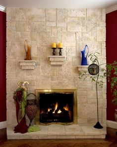 Coral stone was my inspiration to design and build this fireplace and a round wall in the kitchen Coral Stone, Wine Tasting, Family Room, Wall, Kitchen, Mantels, Yahoo Search, House, Tvs