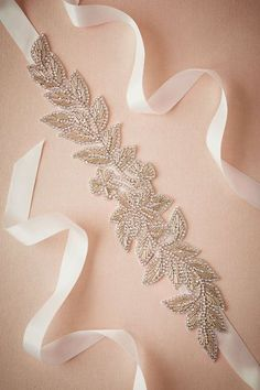 BHLDN Twinkled Fern Sash in New at BHLDN Wiltshire Bridal Boutique. We stock a wonderful selection of designer wedding dresses Bhldn Wedding, Wedding Belts, Wedding Sash, Bridal Sash, Wedding Shoes, Bridal Dresses, Bridal Shower, Bead Embroidery Patterns, Hand Embroidery Designs