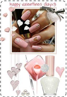 """Valentine's Day Nail Art Idea"" by helenevlacho ❤ liked on Polyvore"