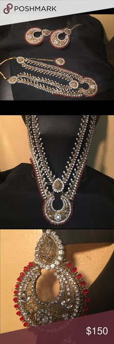NWOT Indian bridal set Brand new Indian jewelry let included long necklace , earrings and matha tikka . Jewelry Necklaces