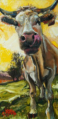 Cow 1 by Claire Kayser - Cow 1 Painting - Cow 1 Fine Art Prints and Posters for Sale