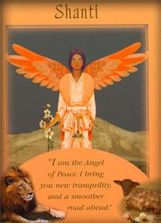 Shanti: I am the Angel of Peace. I bring you new tranquility, and a smoother road ahead Shanti was drawn from the Messages From Your Angels oracle deck by Doreen Virtue. Doreen Virtue, Calling All Angels, Angel Readings, Angel Prayers, Novena Prayers, Angel Quotes, Angel Guidance, Spiritual Guidance, I Believe In Angels