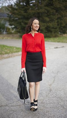 red blouse + black pencil skirt - www.lovelucygirl.com