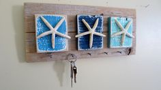 Nautical Decor Recycled Wood Key Hooks Wall Organizer Jewelry Organizer Turquoise Blue Shabby Chic Cottage Beach Decor Starfish Leash Hooks by StarfishEnterprises on Etsy https://www.etsy.com/au/listing/240900708/nautical-decor-recycled-wood-key-hooks