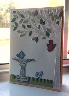 card made with new embossing folder from Darice, and bird & birdbath stamps, plus watercolor pencil & leaf punch & fringe punch