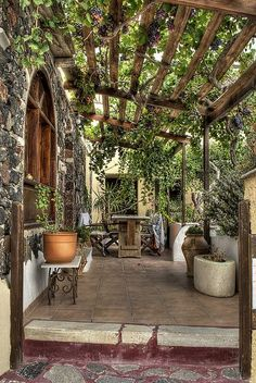 Santorini. Have always wanted a grape trellis over the patio.