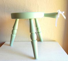 Light Green Three Legged Wooden Stool With Handle Wood 3 Legs Step Stool Photo…