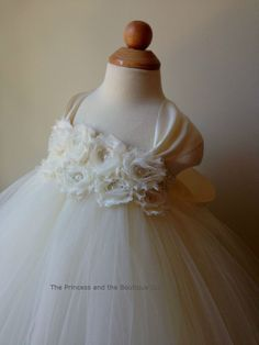 Flower girl dress Ivory tutu dress cap by Theprincessandthebou, $65.00