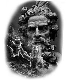 Imagem God Tattoos, Eagle Tattoos, Future Tattoos, Black Tattoos, Tattoos For Guys, Greek Mythology Tattoos, Greek And Roman Mythology, Leg Sleeve Tattoo, Shoulder Tattoo