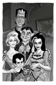 The Munsters, Munsters Tv Show, Munsters Grandpa, Munsters House, The Addams Family, Adams Family, Funny Caricatures, Celebrity Caricatures, Cartoon Art