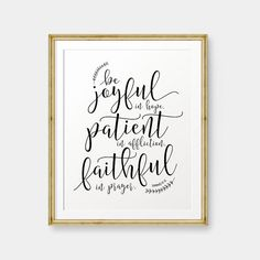 Be joyful in Hope, Romans 12:12 printable, Bible Verse art print, Christian wall…