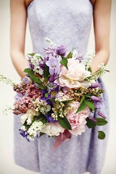 Eclectic Bouquet - Campanula, lilac, Sarah Bernhardt peony, clematis, hyacinth and sweet pea bouquet, from £95, By Appointment Only Design.