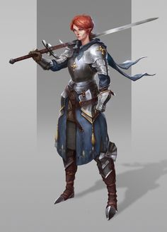 Art featuring medieval knights and their fantasy/sci-fi counterparts. Dnd Characters, Fantasy Characters, Female Characters, Fantasy Character Design, Character Inspiration, Character Art, Female Armor, Female Knight, Lady Knight