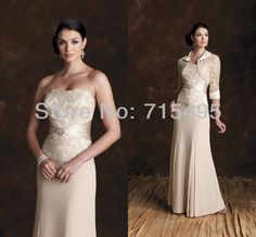 2013 Custom made Sleeves Strapless Applique Chiffon Champagne Mother of the Bride Dresses with Jacket-in Mother of the Bride Dresses from Apparel & Accessories on Aliexpress.com