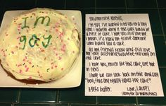 Laurel's cake and note to her parents