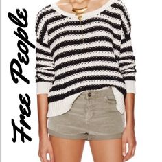 Free People At The Beach Pullover Sweater Adorable comfy sweater with graphic stripes throughout. Has a scoop neck and drop shoulder seaming, with a ribbed cuff and hem. Side split hem with tonal top stitching and panel seaming throughout.                                     100% comfy cotton Free People Sweaters Crew & Scoop Necks