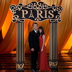 Our Paris Arch features a black and gold sign that says Paris with the Eiffel Tower as the A with coordinating columns. Stumpsparty.com
