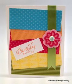 """Marge Wong -  I'm a fan of her combination of bright colors and simple details.    Sue Smedley swapped this sweet cupcake card front with me created with the Stampin' Up! Cupcake Builder Punch.  Calypso Coral looks so rich and festive.    The """"eyes"""" have it.  Edna MacCarter shared this card front with me at a Southwest Stampers meeting.  The embossed spider web is defined with black ink.  Boo-tiful.    Linda Smith isn't afraid to play with color.  She mixed Pump"""