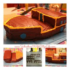DIY- Bucky Pirate Ship Cake ... would be cute with little action figures like : http://www.amazon.com/Fisher-Price-Jake-Never-Land-Pirates/dp/B006HCVT5U/ref=pd_bxgy_t_img_y