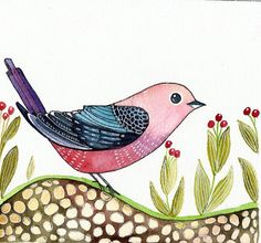 Pink and Blue Bird / Pebbles/ Wall Art/ Nursery by sublimecolors, $34.99