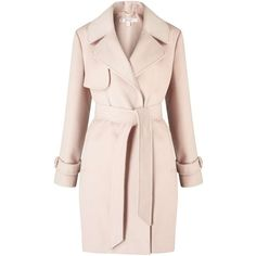Miss Selfridge PETITE Pink Wrap Coat (39.015 HUF) ❤ liked on Polyvore featuring outerwear, coats, petite, pink, wrap coat, miss selfridge, pink coat, miss selfridge coat and petite coats