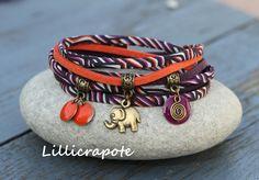 """Bracelet cordon liberty et suedine 2 tours """" nomade """" violet orange bronze _ breloque sequin elephant _ esprit ethnique tribal : Bracelet par lillicrapote"""