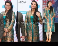 Sonakshi Sinha At Norway Film Festival - High Heel Confidential Sleeves Designs For Dresses, Dress Neck Designs, Kurti Neck Designs, Kurti Designs Party Wear, Blouse Designs, Pakistani Fashion Party Wear, Pakistani Dress Design, Pakistani Dresses, Indian Dresses