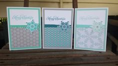 Festive flurry stampin up card set I made. Winter frost dsp and more merry messages stamps. ~Stamp with Rachel ~