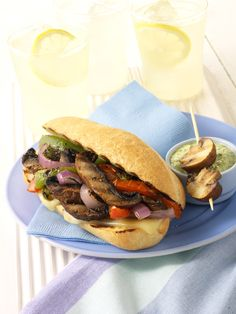 Grilled Philly Cheese Mushroom Sandwich #MeatlessMonday