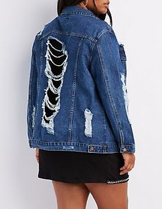 69a6a82a0c12b Plus Size Mesh-Trim Destroyed Denim Jacket Destroyed Denim Jacket