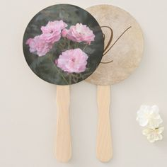 Vintage design. Photo of pink roses. Add monogram. Hand Fan #handfan #vintage #retro #pinkroses #scratch #retrostyle #grunge #summer #garden #pink #roses #old #aged #customized, #personalized, graphics, artwork, buy, sale, #giftideas, #zazzle, shop, discount, #deals, gifts, shopping