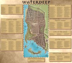 City of Waterdeep map in the Forgotten Realms (Faerun) with all locations added for reference. Fantasy City Map, Fantasy World Map, Fantasy Town, Dwarven City, Dnd World Map, Costa, Village Map, Asia Map, Adventure Map