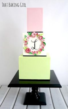 serious respect for those perfect square tiers! Also love the 3D flower monogram