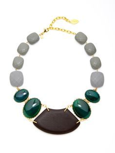 David Aubrey  Grey & Green Agate Faceted Stone Necklace