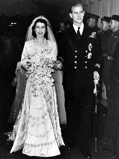 For her Westminster Abbey wedding to Prince Philip in 1947, the 21-year-old princess wore a Norman Hartnell dress with a sweetheart neckline, full sleeves and flowing A-line skirt embroidered with pearls. Though she, like all Britons, had to use ration coupons in post-war Britain to buy the material for her dress, she upped the glamour quotient with her stunning tiara.