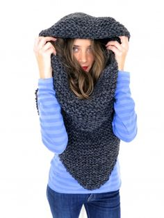 This super thick, soft, sturdy, one-piece knitted monster easily slips over the head and acts as a poncho, scarf, cowl, and hood in one. It is a one piece wonder and all you will need to keep you warm this winter!This is an easy level knitting pattern, and the techniques you will need to know...