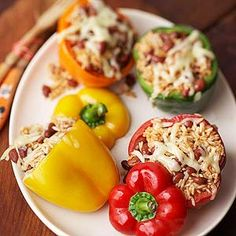 Bean-and-Rice-Stuffed Peppers From Better Homes and Gardens, ideas and improvement projects for your home and garden plus recipes and entertaining ideas.